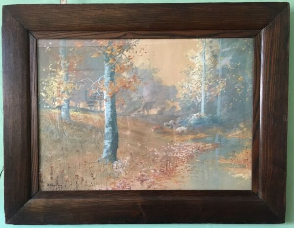 ANTIQUE AMERICAN WATERCOLOR; OAK FRAME; SIGNED - H. LIEBER CO. INDIANAPOLIS