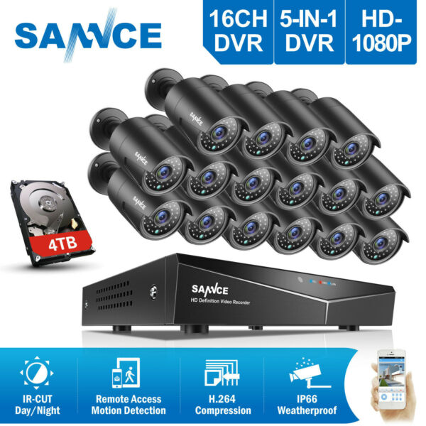 SANNCE 5in1 16CH 1080P DVR 2MP 3000TVL Outdoor CCTV Security Camera System 0-4TB