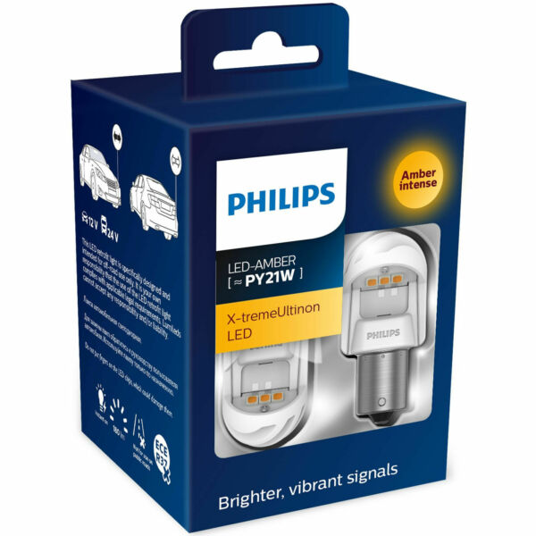 Philips X-tremeUltinon gen2 LED Amber Turn Side Marker Indication Bulbs PY21W 2W