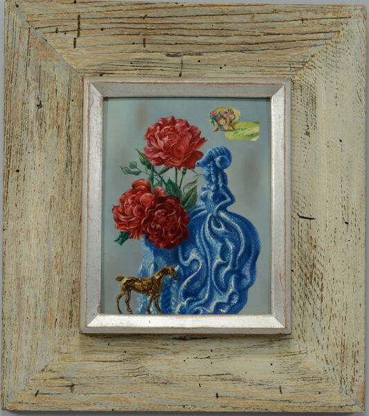 Aaron Bohrod Original Oil on Board Red Rose for a Blue Lady Signed Circa 1950s