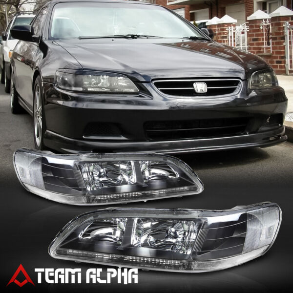 Fits 1998 2002 Honda Accord Black Clear Crystal Corner Headlight Headlamp Lamp