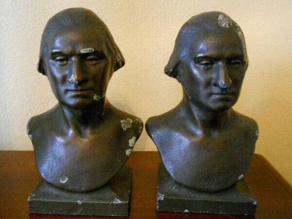 RARE ANTIQUE CAST IRON  GEORGE WASHINGTON BOOKENDS BRONZE OVERLAY PRESIDENT