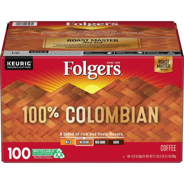 Folgers 100% Columbian Medium Roast Coffee 100 ct K Cup Keurig Hot BEST DEA