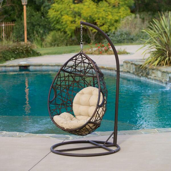 Wicker Tear Drop Hanging Egg Chair Swing w Stand Outdoor Hammock Patio Lounge