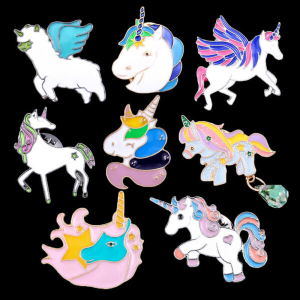 colorful unicorn metal pins brooches bag cloth pendant pin anime cute new