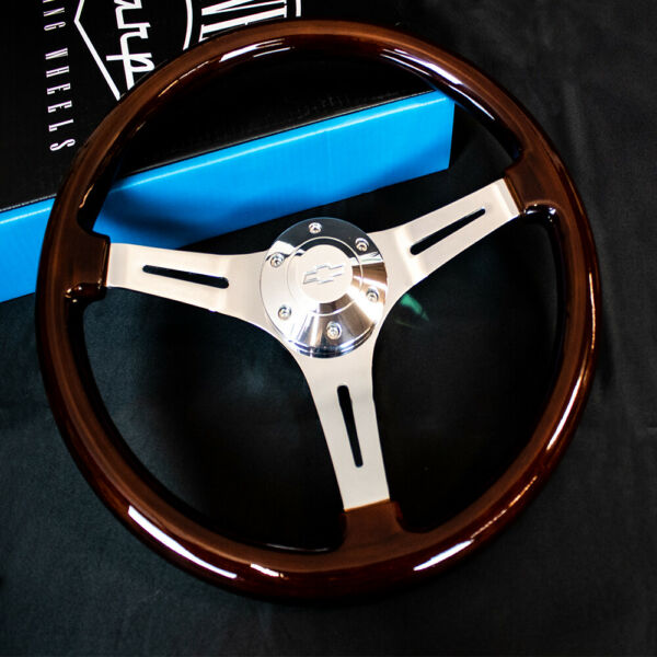 15 Inch Chrome Polished Steering Wheel Dark Wood 3-Spoke with Chevy Horn Button