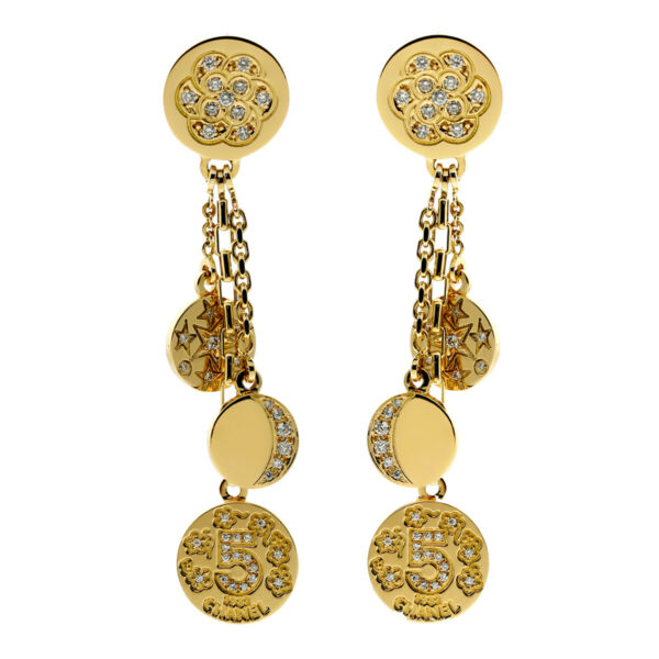 Chanel Charm Diamond Gold Earrings (0000051)