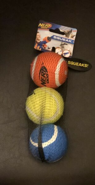 Nerf Dog Tennis Balls Squeakers Chew Toys 3 Pack For Medium Dogs