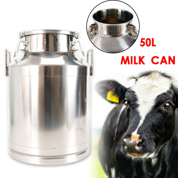 50L 13.25 Heavy-gauge Gallon Milk Can Wine Pail Bucket Tote Jug in one piece NEW