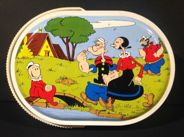 1970's VINTAGE ITALIAN POPEYE METAL LUNCH PAIL TIN CARRY ALL FROM ITALY RARE