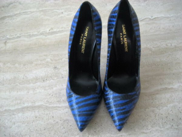 NW AUTH YSL YVES SAINT LAURENT KHAN BLK&BLUE SNAKE LETH PUMP SZ6'16 RET$825WOW!