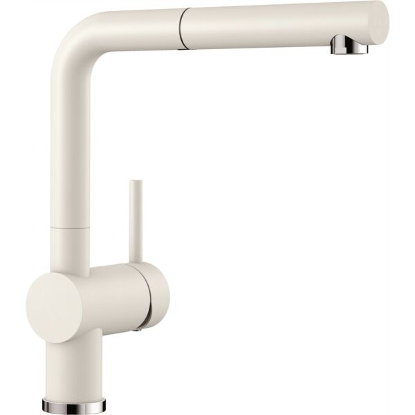Blanco LINUSS PULL OUT MIXER TAP 140° Swivel Spout Metal-Sheathed Hose WHITE