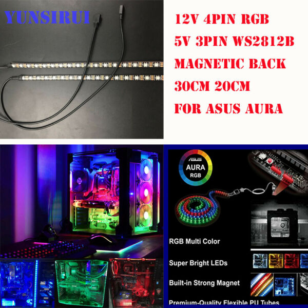 DIY 50 30cm PC RGB Gaming LED Strip Lights Case Lighting 3pin 4pin for Aura Sync