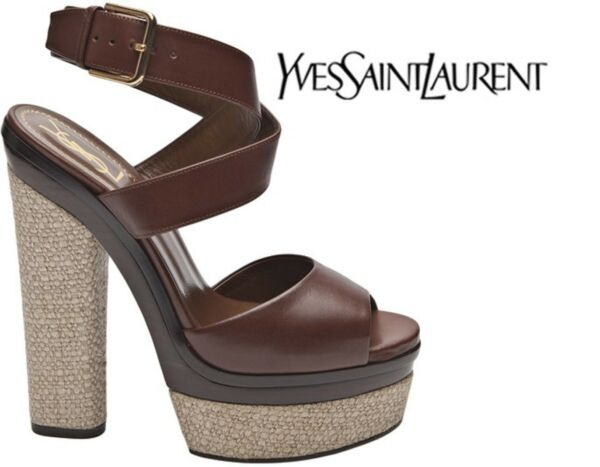 NW AUTH YSL YVES SAINT LAURENT CRUISE PLATFORM LEATH SANDALS SZ