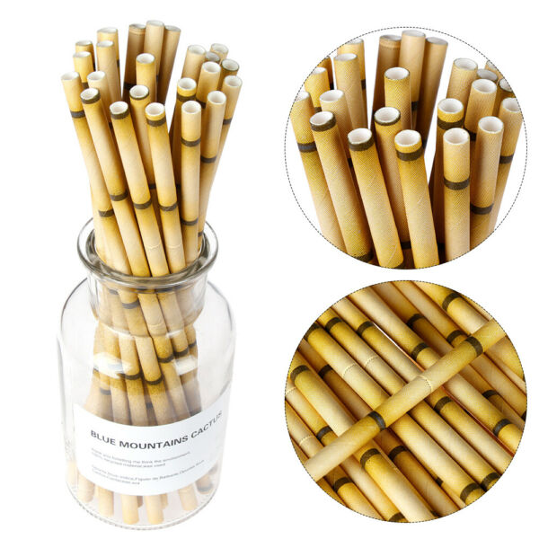 Wedding Home & Living Bar Supplies Biodegradable Bamboo Paper Drinking Straw