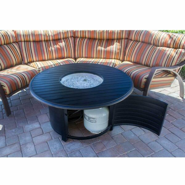 Large Round Fire Pit Table Patio Backyard Heater Deck Gas Fire Glass Aluminum