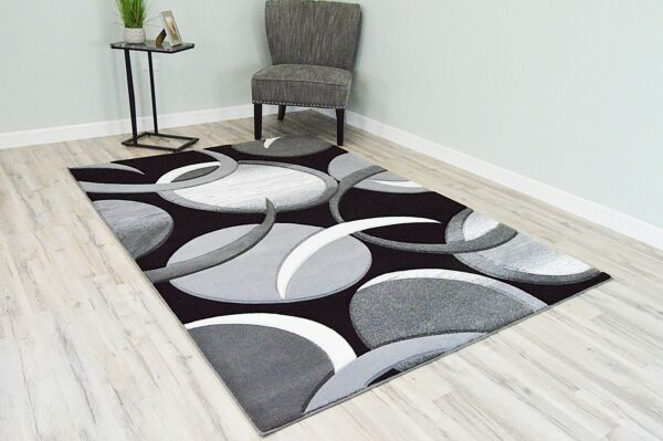 PREMIUM 3D Effect Hand Carved Thick Modern Contemporary Abstract Area Rug 1062