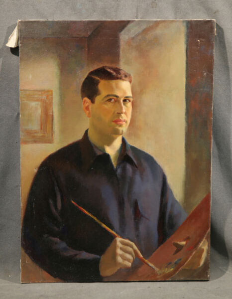 Vintage American Painting Handsome Man Seating Artist Self Portrait