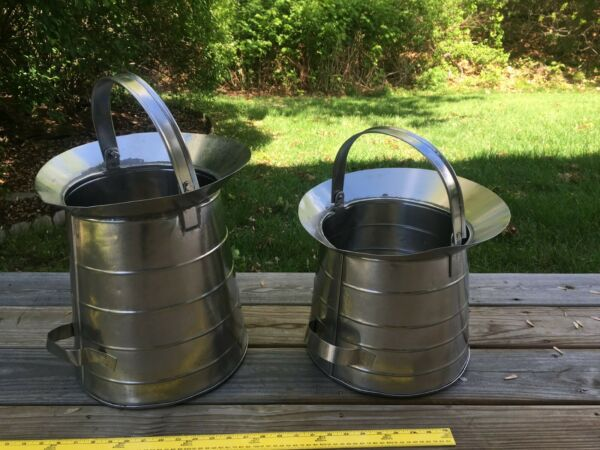1 pair of vintage tinned stainless leaky lab home garden water etc pails buckets