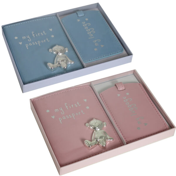 Button Corner First Passport Cover Luggage Tag Set - Pink or Blue