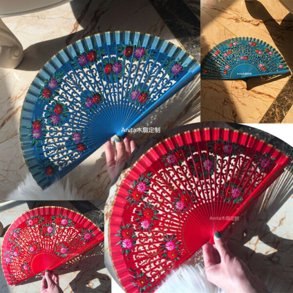 Hand Painted Spanish Style Wood Fans Custom Dance Fans Wedding Show Gift $19.14