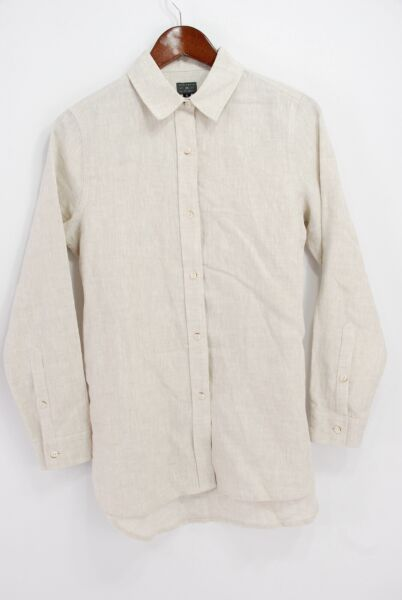 Wilson & Willy's USA Women's Abbywood Button Down Shirt - Natural Linen - Small