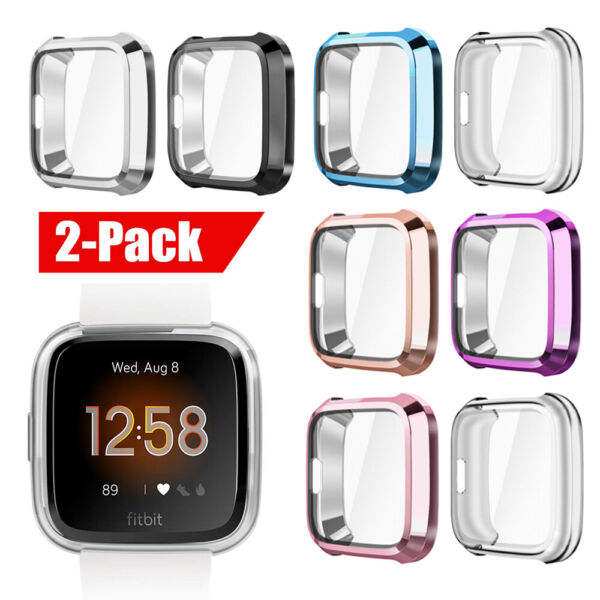 For Fitbit Versa Lite Silicone Thin TPU Shell Case Screen Protector Frame Cover