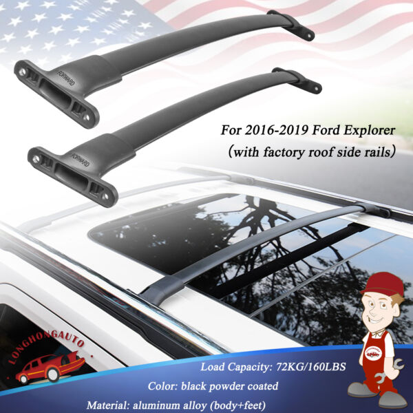 Set Top Roof Rack Cross Bars Crossbars only For factory 2016 2019 Ford Explorer $62.89