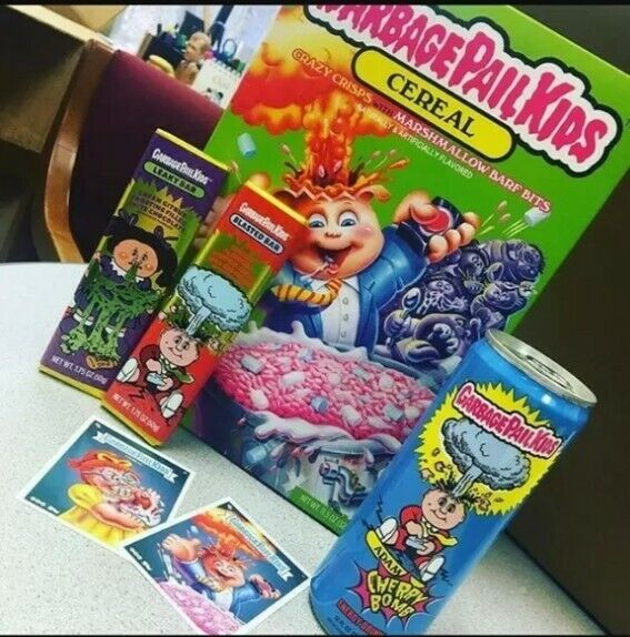 Garbage pail kids Cereal Adam Bomb WCandy Bars+ Energy Drink and 2 Trading Card
