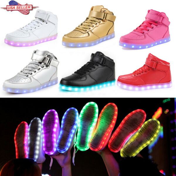 High Top Unisex LED Shoes Light Up Luminous Casual Sport Sneakers Trainers Party