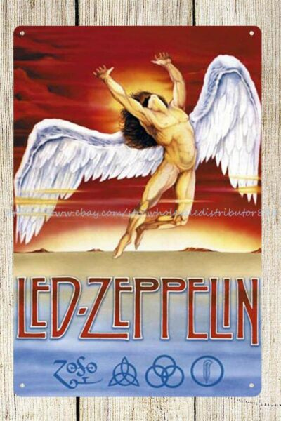 outdoor metal signs Led Zeppelin angel wing rock band metal tin sign
