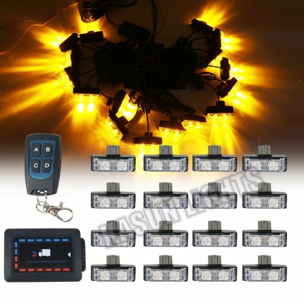 16 in 1 32 W LED Flash Strobe Warning Lights Car Grille Wireless Remote Amber