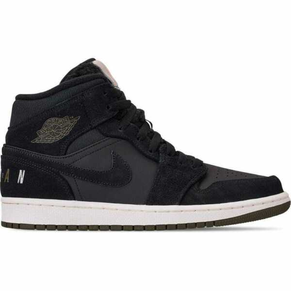 Nike Air Jordan 1 Mid Premium Mens Shoes Black/Olive Canvas/Sail/Cone BQ6579 001