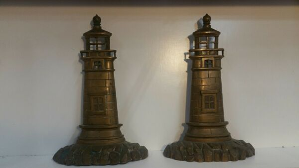 Vintage Brass Lighthouse Fireplace Andirons