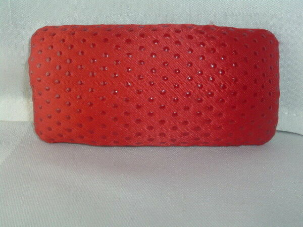 RED MATERIAL HAIR BARRETTE ACCESSORY $12.00