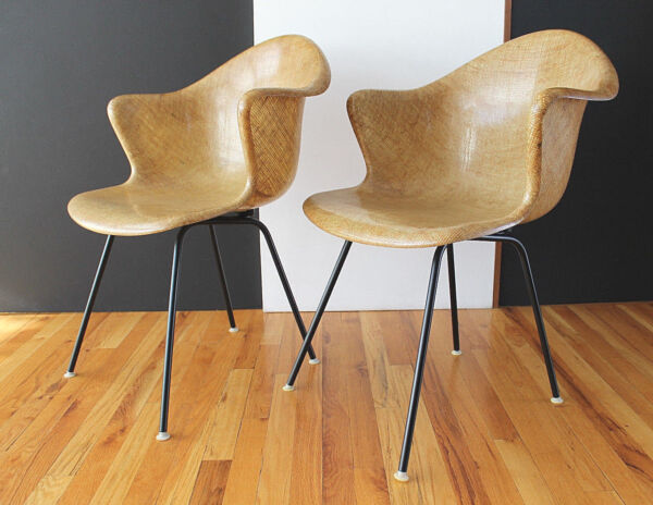 Rare Pair FiberglassBurlap Shell Arm Chairs Cole Steel Eames Era