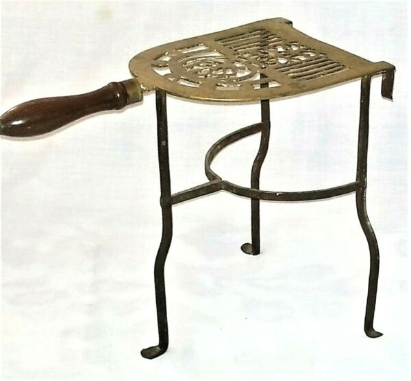 fireplace Trivet kettle stand solid brass & wrought iron penny foot 12