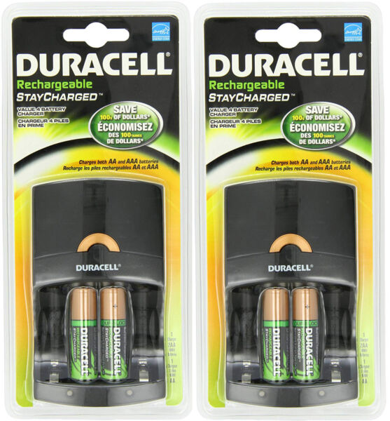 (2 pack) Duracell Value Charger w 2 AA Rechargeable Staycharged Batteries