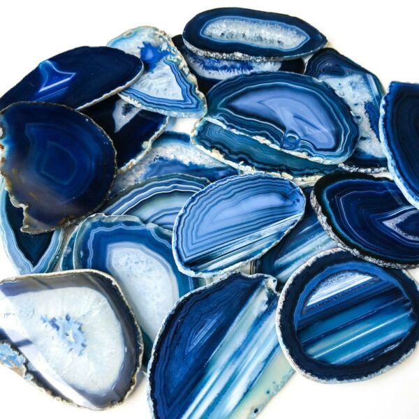 Blue Agate Slices Bulk Geode Agate Place Cards Wholesale Size 1 Placecards Real