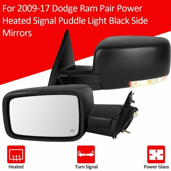 For 2009-2015 Dodge Ram Pairs Power Heated Side Signal Manual Fold Black Mirrors
