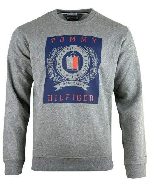 Tommy Hilfiger Denim Men's Graphic Crew Neck Sweatshirt Long Sleeve Gray $24.50