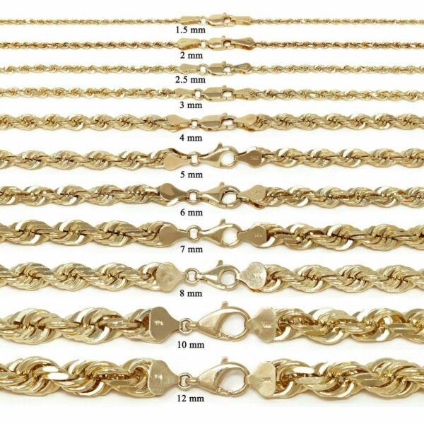 14k Yellow Gold Solid Diamond Cut Rope Chain Necklace 16quot; 30quot; 1.5mm to 12mm $179.07