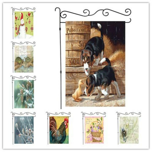 Welcome Rustic animal theme Garden Flag Double-sided House Decor Banner 12x18""