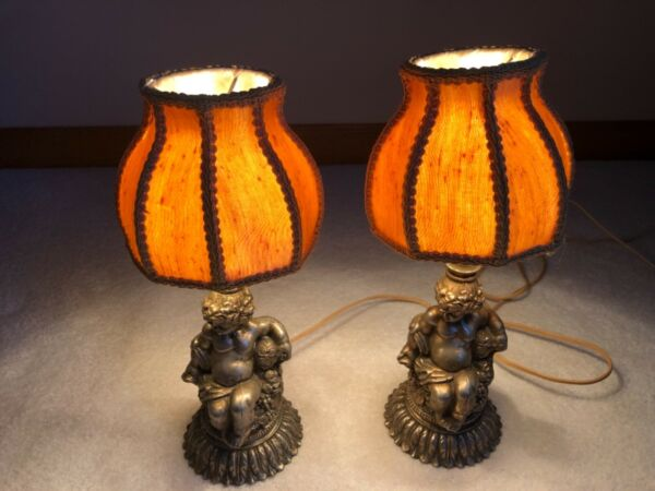 Pair Of Very Rare Vintage Antique Table Lamps With Hand Made Benko Lamp Shades