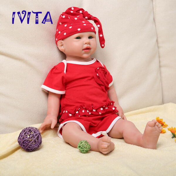 IVITA 19'' Soft Silicone Reborn Baby Doll Big Eyes Baby Girl Xmas Gift Toy