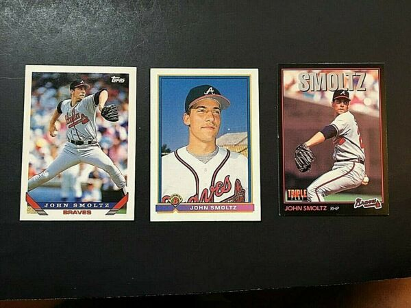 Lot of 3 John Smoltz- Topps 1991 Topps 1993 & Leaf 1993 EX-NM    W1