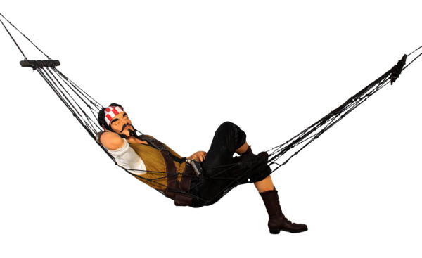 Pirate Hanging in Hammock Life Size Statue Resin Decor