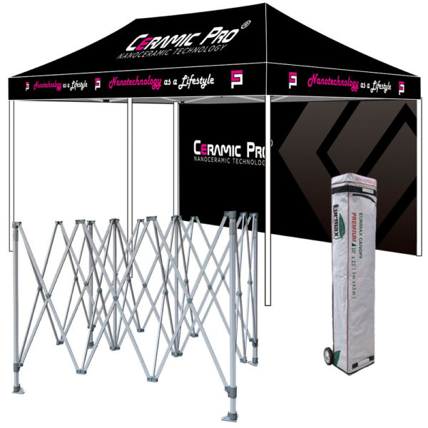 Commercial 10x20 Ez Pop Up Canopy Graphics  LOGO Custom Printed W Back Wall