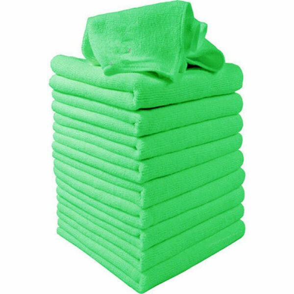 10× Green Microfiber Car Body Care Cleaning Towels Soft Cloths Tool Accessories