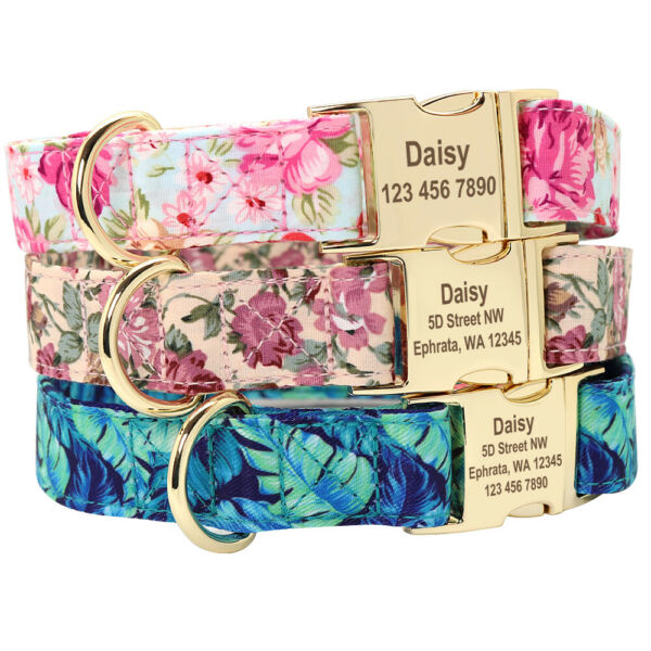 Floral Personalized Dog Collars Pet Name ID Collar Laser Engraved Metal Buckle $11.99
